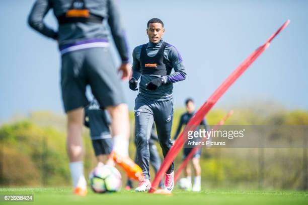 Luciano Narsingh in action during the Swansea City training session at The Fairwood training Ground on November 16 2016 in Swansea Wales