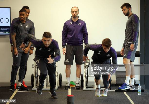 Luciano Narsingh Jordan Ayew Borja Gonzalez coach Jonny Northeast Tom Carroll and Jordi Amat in the gym during the Swansea City Training at The...