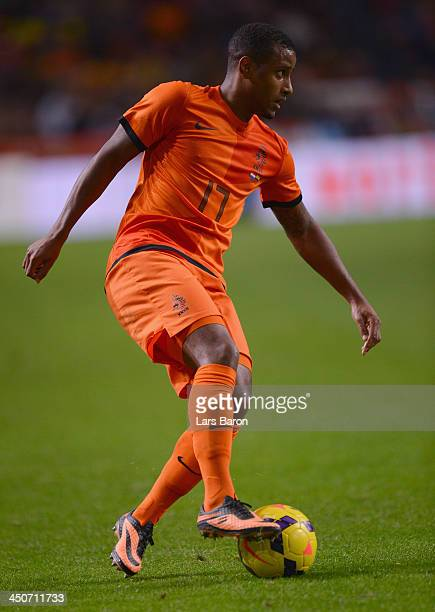 Luciano Narsingh of Netherlands runs with the ball during the International Friendly match between Netherlands and Colombia at Amsterdam ArenA on...