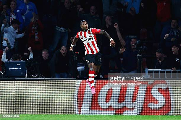 Luciano Narsingh of PSV Eindhoven celebrates scoring his team's second goal during the UEFA Champions League Group B match between PSV Eindhoven and...