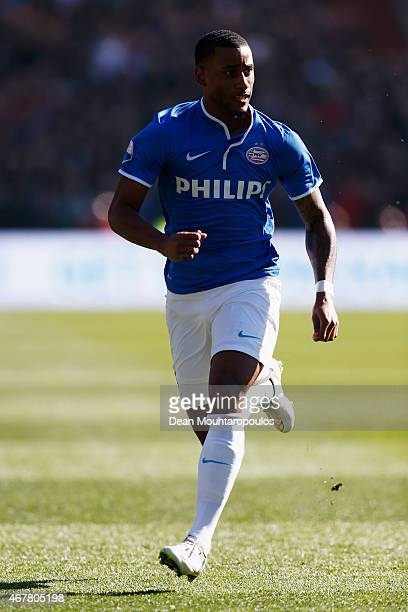 Luciano Narsingh of PSV in action during the Dutch Eredivisie match between Feyenoord and PSV Eindhoven at De Kuip on March 22 2015 in Rotterdam...