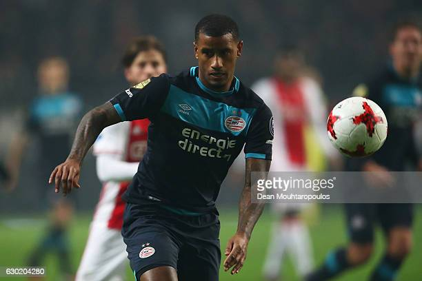 Luciano Narsingh of PSV in action during the Eredivisie match between Ajax Amsterdam and PSV Eindhoven held at Amsterdam Arena on December 18 2016 in...