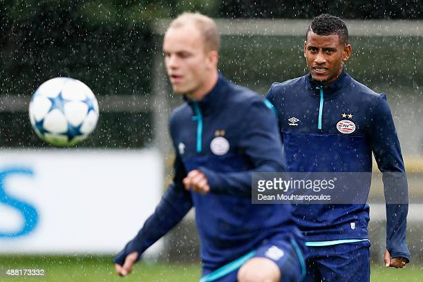 Luciano Narsingh of PSV looks on during the PSV Eindhoven training session held at De Herdgang on September 14 2015 in Eindhoven Netherlands PSV will...