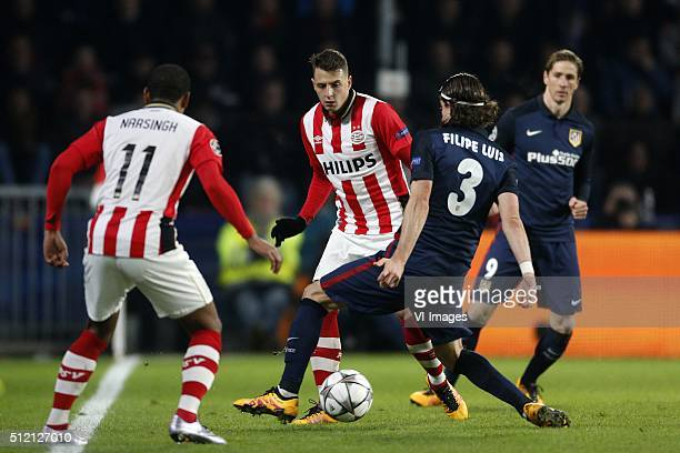 Luciano Narsingh of PSV Santiago Arias of PSV Filipe Luis of Club Atletico de Madrid during the UEFA Champions League Round of 16 First leg match...