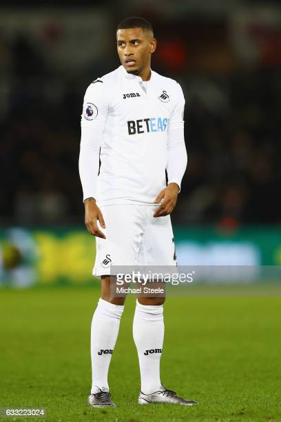Luciano Narsingh of Swansea City during the Premier League match between Swansea City and Southampton at the Liberty Stadium on January 31 2017 in...