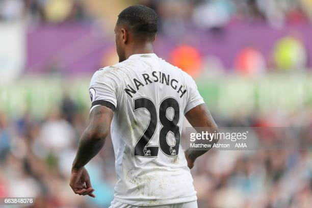 Luciano Narsingh of Swansea City during the Premier League match between Swansea City and Middlesbrough at Liberty Stadium on April 2 2017 in Swansea...