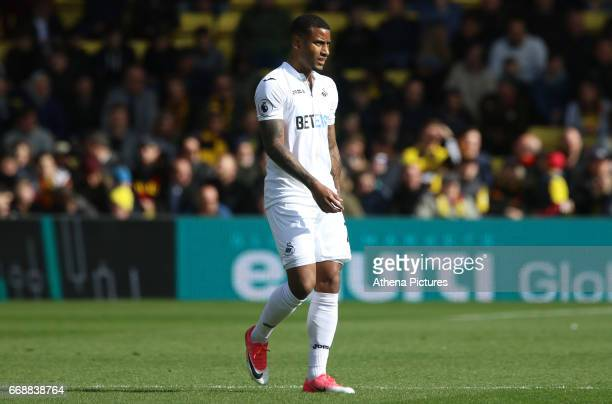 Luciano Narsingh of Swansea City during the Premier League match between Watford and Swansea City at Vicarage Road Stadium on April 15 2017 in...