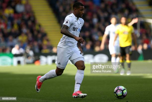 Luciano Narsingh of Swansea City in action during the Premier League match between Watford and Swansea City at Vicarage Road Stadium on April 15 2017...