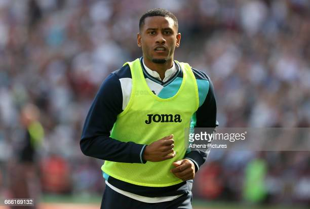 Luciano Narsingh of Swansea City warms up during the Premier League match between West Ham United and Swansea City at the London Stadium on April 8...