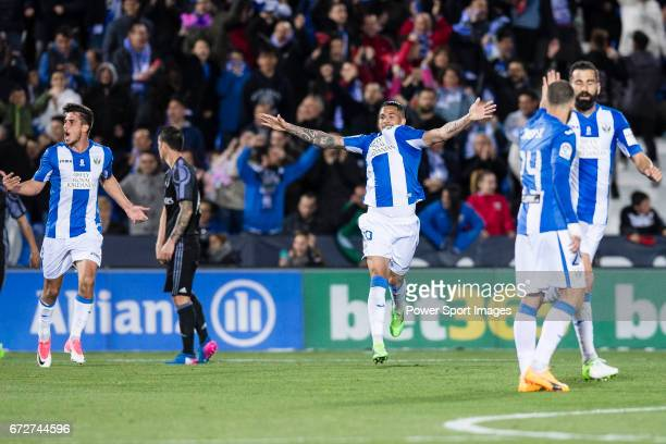 Luciano Neves of Deportivo Leganes celebrates during their La Liga match between Deportivo Leganes and Real Madrid at the Estadio Municipal Butarque...