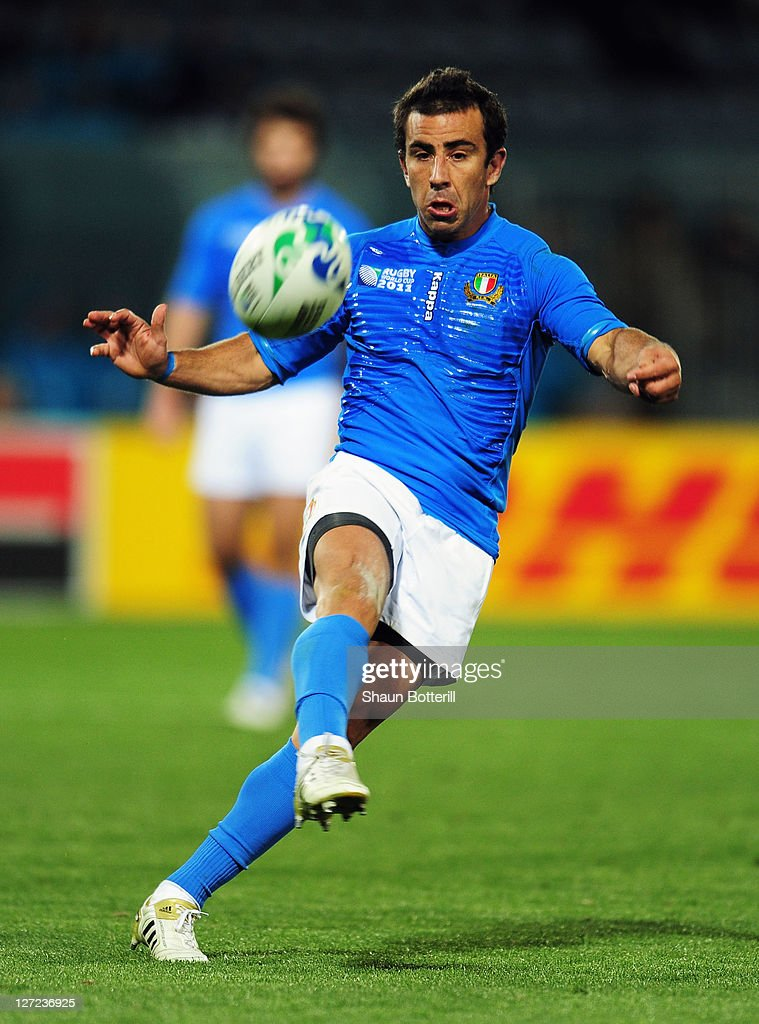 <a gi-track='captionPersonalityLinkClicked' href=/galleries/search?phrase=Luciano+Orquera&family=editorial&specificpeople=236091 ng-click='$event.stopPropagation()'>Luciano Orquera</a> of Italy kicks the ball forward during the IRB 2011 Rugby World Cup Pool C match between Italy and the USA at Trafalgar Park on September 27, 2011 in Nelson, New Zealand.