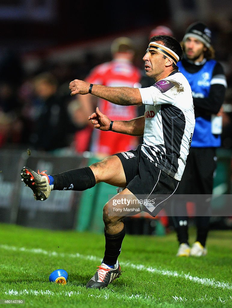<a gi-track='captionPersonalityLinkClicked' href=/galleries/search?phrase=Luciano+Orquera&family=editorial&specificpeople=236091 ng-click='$event.stopPropagation()'>Luciano Orquera</a> of Zebre kicking a conversion during the European Rugby Challenge Cup match between Gloucester Rugby and Zebre at Kingsholm Stadium on December 7, 2014 in Gloucester, England.