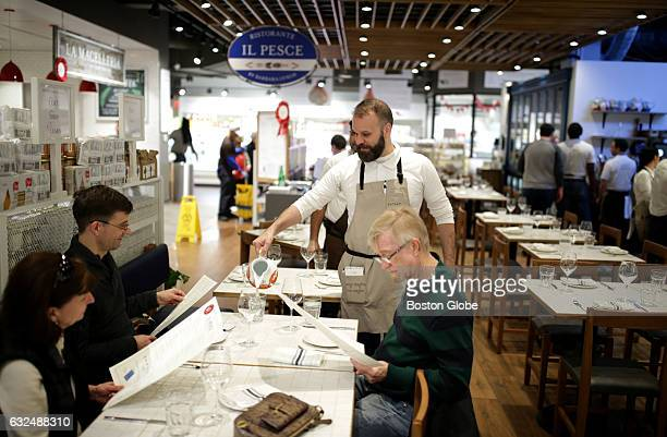 Luciano Paskevicius waits on customers at Barbara Lynch's Il Pesce at Eataly in Boston on Jan 17 2017