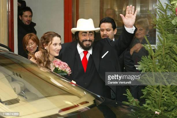 Luciano Pavarotti and Nicoletta Mantovani during Luciano Pavarotti Marries Nicoletta Mantovani at Teatro Comunale in Modena in Modena Italy