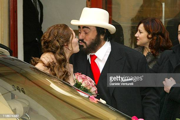 Luciano Pavarotti and Nicoletta Mantovani during Luciano Pavarotti Marries Nicoletta Mantovani at Teatro Comunale in Modena in Modena Italy