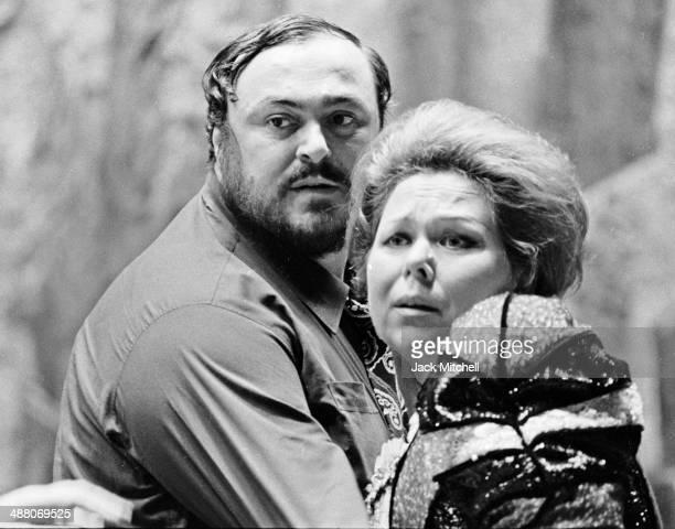 Luciano Pavarotti and Renata Scotto rehearsing Il Trovatore at the Metropolitan Opera House in New York October 9 1976