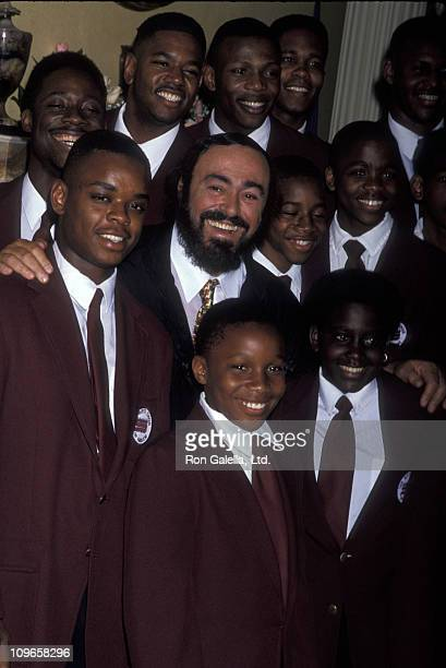 Luciano Pavarotti and the Boys Choir of Harlem during 30th Anniversary of Thirteen/WNET at Gracie Mansion in New York City New York United States