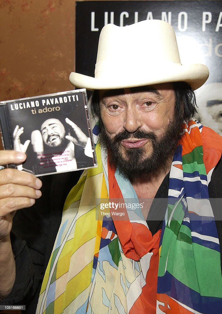 <a gi-track='captionPersonalityLinkClicked' href=/galleries/search?phrase=Luciano+Pavarotti&family=editorial&specificpeople=204196 ng-click='$event.stopPropagation()'>Luciano Pavarotti</a> during <a gi-track='captionPersonalityLinkClicked' href=/galleries/search?phrase=Luciano+Pavarotti&family=editorial&specificpeople=204196 ng-click='$event.stopPropagation()'>Luciano Pavarotti</a> Signs Copies of his New CD 'Ti Adoro' at Tower Records in New York City, New York, United States.