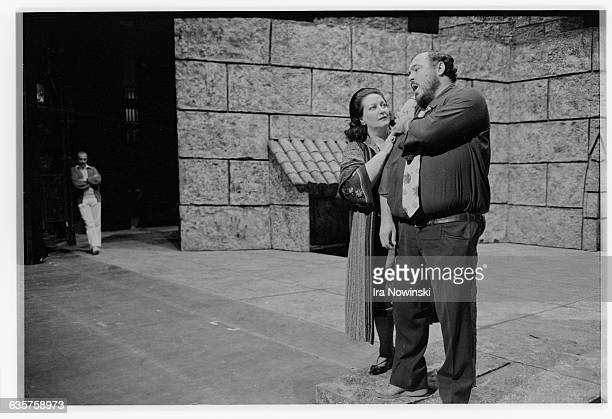 Luciano Pavarotti in the role of Mario Cavaradossi participates in a staging rehearsal with Montserrat Caballe in the role of Floria Tosca for a...