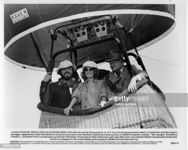 Luciano Pavarotti Kathryn Harrold and Eddie Albert take a hot air balloon ride in a scene from the movie 'Yes Giorgio' circa 1982