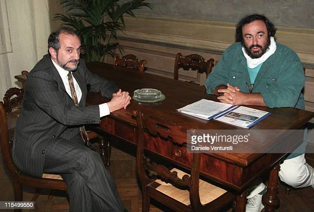 Luciano Pavarotti with Modena Mayor Giuliano Barbolino who will celebrate Pavarotti's wedding on December 13th 2003