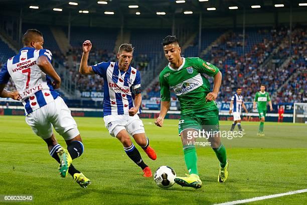 Luciano Slagveer of sc Heerenveen Stijn Schaars of sc Heerenveen Hachim Mastour of PEC Zwolle during the Dutch Eredivisie match between sc Heerenveen...