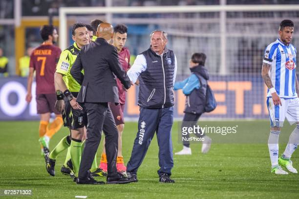 Luciano Spalletti and Zeman Zdenek during the Italian Serie A football match Pescara vs Roma on April 24 in Pescara Italy