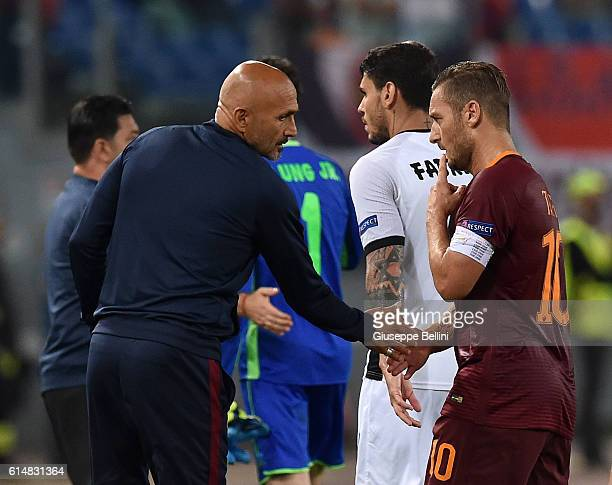 Luciano Spalletti head coach of AS Roma and Francesco Totti of AS Roma after the UEFA Europa League match between AS Roma and FC Astra Giurgiu at...