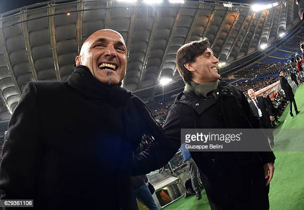 Luciano Spalletti head coach of AS Roma and Vincenzo Montella head coach of AC Milan prior the Serie A match between AS Roma and AC Milan at Stadio...