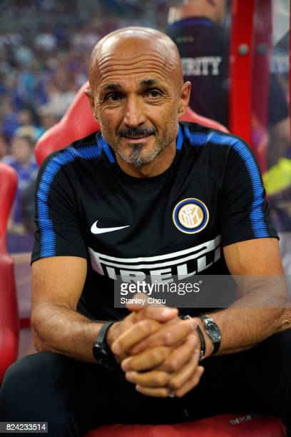 Luciano Spalletti manager of FC Internazionale looks on during the International Champions Cup match between and Chelsea FC at National Stadium on...