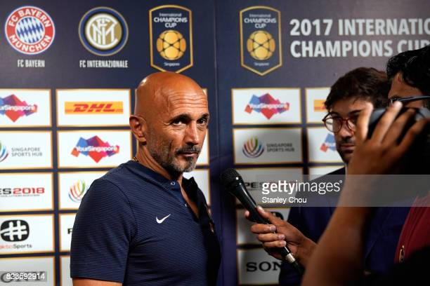 Luciano Spalletti manager of FC Internazionale speaks to the official broadcaster prior to kick off during the International Champions Cup match...