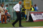 Luciano Spalletti of AS Roma shows his dejection during the Serie A match between Roma and Juventus at Stadio Olimpico on August 30 2009 in Rome Italy