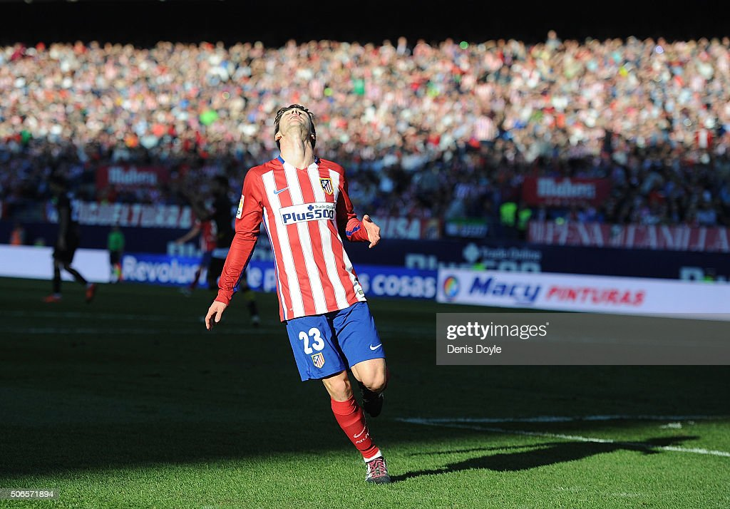 <a gi-track='captionPersonalityLinkClicked' href=/galleries/search?phrase=Luciano+Vietto&family=editorial&specificpeople=9755198 ng-click='$event.stopPropagation()'>Luciano Vietto</a> of Club Atletico de Madrid reacts after missing a chance to score a goal during the La Liga match between Club Atletico de Madrid and Sevilla FC at Vicente Calderon Stadium on January 24, 2016 in Madrid, Spain.