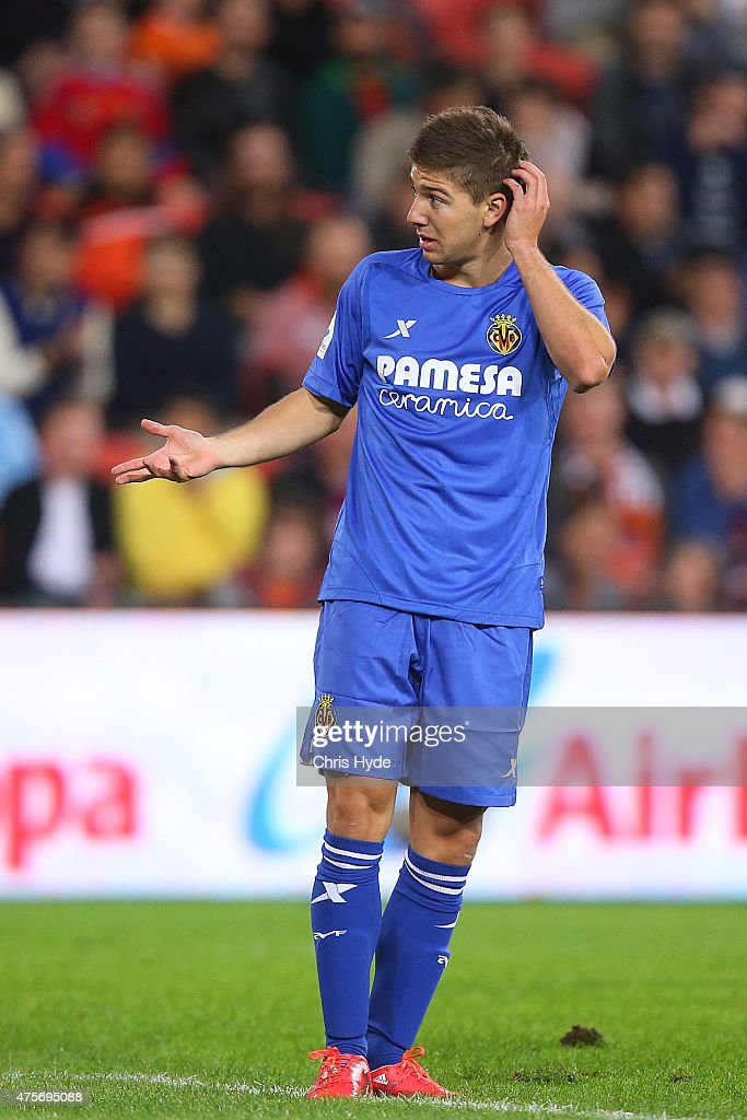 <a gi-track='captionPersonalityLinkClicked' href=/galleries/search?phrase=Luciano+Vietto&family=editorial&specificpeople=9755198 ng-click='$event.stopPropagation()'>Luciano Vietto</a> of Villarreal CF reacts during the international friendly match between the Brisbane Roar and Villarreal CF at Suncorp Stadium on June 3, 2015 in Brisbane, Australia.