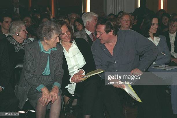 Lucie Aubrac with actors Gérard Depardieu and Carole Bouquet both of whom recited poetry