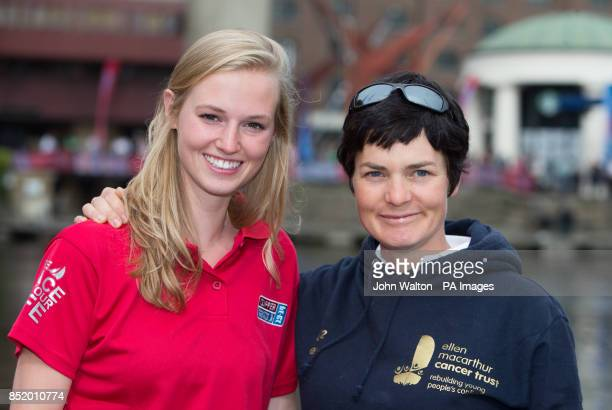 Lucie Carrington and Dame Ellen MacArthur during the start of the Clipper Round the World Race at St Katharine Docks London