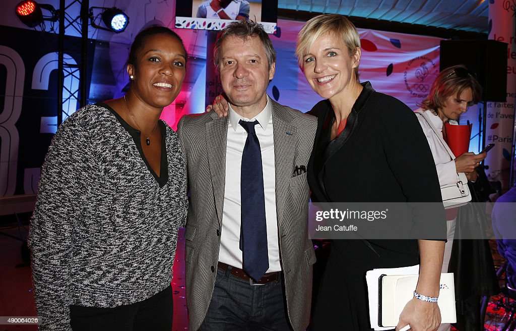 Lucie Decosse, Thierry Rey, Celine Geraud attend the launch party for 'Je Reve Des Jeux', 'I dream about the Games', a campaign to promote Paris' bid for the Olympic Games in 2024 at 'Maison du Sport Francais', house of the CNOSF (French Olympic Committee) on September 25, 2015 in Paris, France.