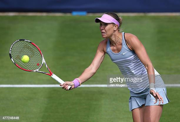 Lucie Hradecka of Czech Republic in action against Lesia Tsurenko of Ukrraine on day one of the Aegon Classic at Edgbaston Priory Club on June 15...