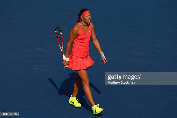 Lucie Hradecka of Czech Republic reacts against Victoria Azarenka of Belarus during their Women's Singles First Round match Day Two of the 2015 US...