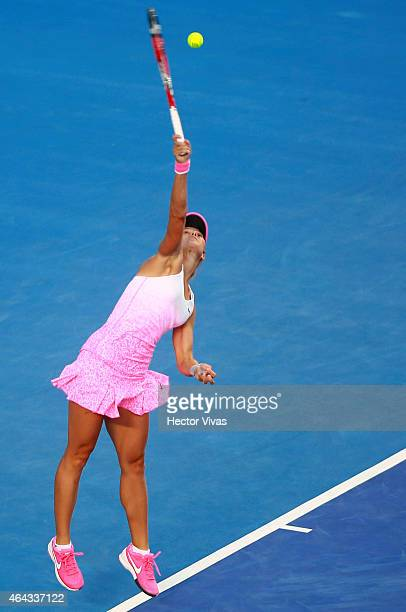 Lucie Hradecka of Czech Republic serves a shot against Sara Errani of Italy during a female single match as part of Telcel Mexican Open 2015 at...