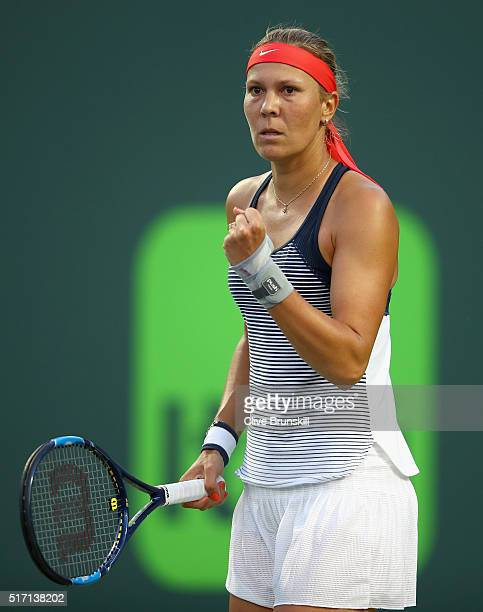 Lucie Hradecka of the Czech Republic celebrates a point against Eugenie Bouchard of Canada in their first round match during the Miami Open Presented...