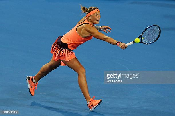 Lucie Hradecka of the Czech Republic plays a backhand to Daria Gavrilova of Australia during the Womens SIngles Match on day three of the 2017 Hopman...