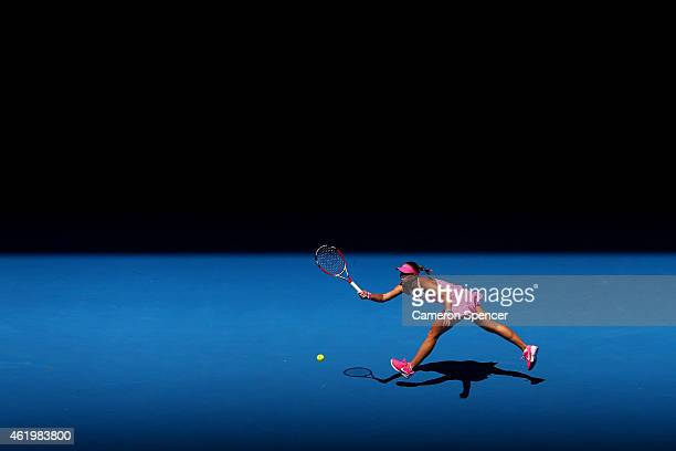 Lucie Hradecka of the Czech Republic plays a forehand in her third round match against Julia Goerges of Germany during day five of the 2015...