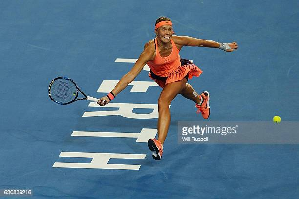 Lucie Hradecka of the Czech Republic plays a forehand to Daria Gavrilova of Australia during the Womens SIngles Match on day three of the 2017 Hopman...