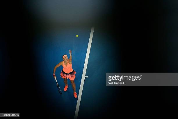 Lucie Hradecka of the Czech Republic serves to Daria Gavrilova of Australia during the Womens SIngles Match on day three of the 2017 Hopman Cup at...