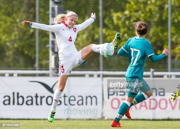 Lucie Jelinkova of Czech Republic challenges Jana Rogee of Germany for the ball during the Under 15 girls international friendly match between Czech...