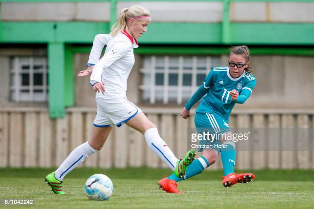 Lucie Jelinkova of Czech Republic challenges Julia Pollak of Germany for the ball during the Under 15 girls international friendly match between...