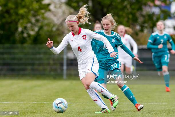 Lucie Jelinkova of Czech Republic challenges Sophie Krall of Germany for the ball during the Under 15 girls international friendly match between...