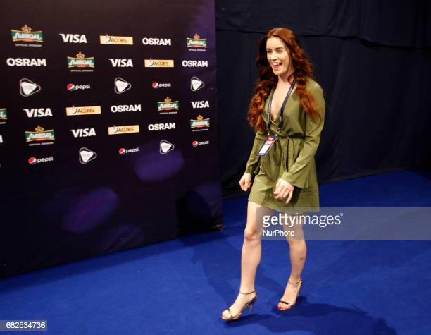 Lucie Jones of the United Kingdom poses for photographers during a press conference at the Eurovision Song Contest in Kiev Ukraine 12 May 2017 The...