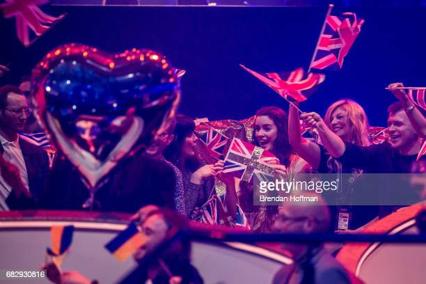 Lucie Jones the contestant from the United Kingdom holds a flag in her section of the green room at the Eurovision Grand Final on May 13 2017 in Kiev...